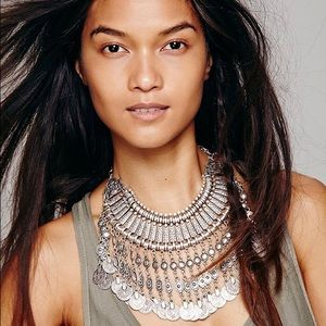 free people silver coin collar statement necklace